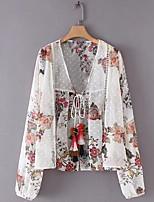 baratos -Mulheres Blusa Floral Decote V