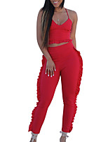 cheap -Women's Basic Tank Top - Solid Colored, Ruffle Pant