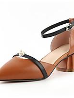 Недорогие -Жен. Обувь Наппа Leather Лето Удобная обувь Обувь на каблуках На толстом каблуке Бежевый / Коричневый / Розовый