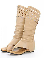 cheap -Women's Shoes PU(Polyurethane) Spring Fashion Boots Boots Flat Heel Open Toe Mid-Calf Boots Beige / Khaki