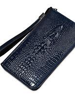 cheap -Men's Bags Cowhide Clutch Zipper Crocodile Blue / Black / Coffee