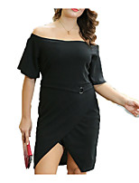 cheap -Sweet Curve Women's Going out Slim A Line Dress Boat Neck