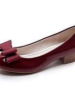 Недорогие -Жен. Обувь Лакированная кожа Лето Удобная обувь Обувь на каблуках На толстом каблуке Черный / Красный / Винный