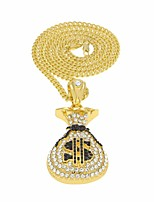 cheap -Men's Cubic Zirconia Stylish / Cuban Link Pendant Necklace / Chain Necklace - Precious, Dollars Luxury, Trendy, Hip-Hop Cool Gold, Silver 70 cm Necklace Jewelry 1pc For Gift, Street