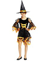 cheap -Witch Costume Girls' Halloween Carnival Children's Day Festival / Holiday Halloween Costumes Outfits Black Solid Colored Halloween Halloween