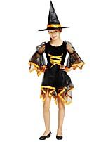 preiswerte -Hexe Austattungen Mädchen Halloween / Karneval / Kindertag Fest / Feiertage Halloween Kostüme Schwarz Solide / Halloween Halloween