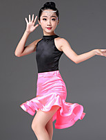 cheap -Latin Dance Outfits Girls' Performance Spandex Ruching Sleeveless Natural Skirts / Leotard / Onesie