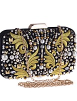 cheap -Women's Bags Polyester Evening Bag Embroidery Black