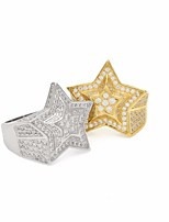 cheap -Men's AAA Cubic Zirconia Stylish Ring - Star Trendy, Hyperbole 8 / 9 / 10 Gold / Silver For Daily / Street