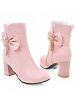cheap -Women's Shoes PU(Polyurethane) Fall & Winter Fashion Boots Boots Chunky Heel Round Toe Booties / Ankle Boots White / Black / Pink / Party & Evening