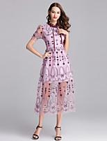 economico -Per donna sofisticato / Elegante Linea A Vestito - Con ricami, Astratto Medio