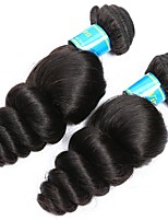 cheap -2 Bundles Brazilian Hair Loose Wave Virgin Human Hair Natural Color Hair Weaves 8-30 inch Human Hair Weaves Machine Made Best Quality / 100% Virgin Natural Human Hair Extensions Women's