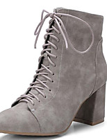 cheap -Women's Shoes Microfiber Fall & Winter Fashion Boots Boots Chunky Heel Pointed Toe Booties / Ankle Boots Black / Gray / Almond / Party & Evening