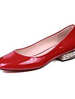Недорогие -Жен. Обувь Наппа Leather Весна Удобная обувь Обувь на каблуках На низком каблуке Черный / Красный / Миндальный