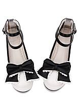 abordables -Chaussures Doux / Lolita Classique / Traditionnelle Princesse Creepers Chaussures Couleur Pleine / Dentelle consue / Nœud papillon 5 cm CM Blanc Pour PU