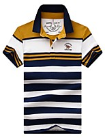 cheap -Men's Basic Polo - Striped / Letter / Portrait Embroidered