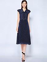 baratos -Mulheres Vintage / Moda de Rua Evasê Vestido - Estampado Médio