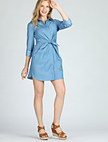 cheap -Suzanne Betro Women's Street chic A Line / Shirt Dress - Solid Colored Lace up
