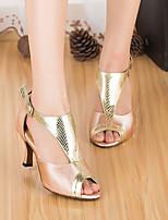 baratos -Mulheres Sapatos de Dança Latina Cetim Salto Salto Grosso Sapatos de Dança Dourado