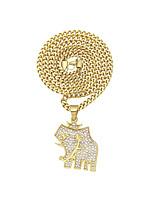 cheap -Men's Cubic Zirconia Cuban Link Pendant Necklace / Chain Necklace - Stainless Elephant Stylish, European, Hip-Hop Gold 70 cm Necklace 1pc For Wedding, Gift