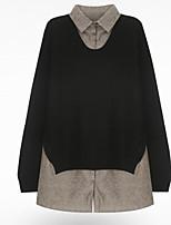 abordables -Tee-shirt Femme, Couleur Pleine Basique / Punk & Gothique Gris-noir
