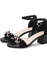 preiswerte -Damen Schuhe Wildleder Frühling Sommer Komfort High Heels Blockabsatz Schwarz / Königsblau