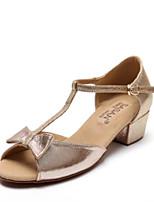 preiswerte -Mädchen Schuhe für den lateinamerikanischen Tanz PU Absätze Kubanischer Absatz Tanzschuhe Gold / Schwarz / Pfirsich