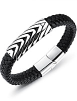 cheap -Men's Thick Chain Leather Bracelet - Leather Weave Punk Bracelet Black For Gift / Daily