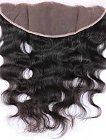 Недорогие -Индийские волосы 4X13 Закрытие / Бесплатно Part Волнистый Бесплатный Часть Швейцарское кружево Натуральные волосы Жен. Гладкие / обожаемый / Лучшее качество