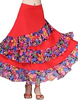 cheap -Ballroom Dance Bottoms Women's Performance Ice Silk Pattern / Print / Ruching / Split Joint Natural Skirts