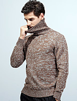 cheap -Men's Long Sleeve Loose Pullover - Solid Colored Turtleneck