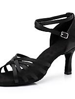 cheap -Women's Latin Shoes Satin Sneaker Slim High Heel Customizable Dance Shoes Black