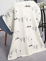 baratos -Velocino de Coral, Impressão Reactiva Geométrica / Simples Algodão / Poliéster cobertores