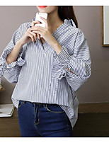 Недорогие -женская льняная / хлопчатобумажная кофточка - сплошной цветной шею