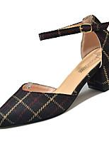 Недорогие -Жен. Обувь Полиуретан Лето Туфли д'Орсе Обувь на каблуках На толстом каблуке Заостренный носок Черный / Хаки