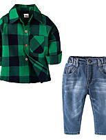 Недорогие -Дети Мальчики Гусиная лапка Длинный рукав Набор одежды