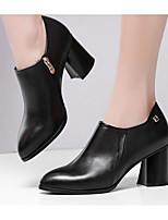 Недорогие -Жен. Обувь Наппа Leather Осень Удобная обувь / Туфли лодочки Обувь на каблуках На толстом каблуке Черный / Серый / Красный