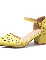 cheap -Women's Shoes PU(Polyurethane) Spring / Summer Comfort / Basic Pump Heels Chunky Heel White / Yellow / Pink