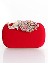 cheap -Women's Bags Polyester / Satin Evening Bag Buttons / Crystals Purple / Almond / Fuchsia