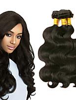 billige -3 Bundler Peruviansk hår Krop Bølge Menneskehår Hovedstykke / Menneskehår, Bølget / Udvidelse 8-28 inch Menneskehår Vævninger Maskinproduceret Bedste kvalitet / Ny ankomst / Hot Salg Sort Naturlig