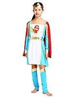 cheap -Super Heroes Costume Girls' Halloween Carnival Children's Day Festival / Holiday Halloween Costumes Outfits Cyan Solid Colored Halloween Halloween