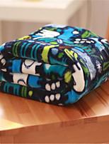 baratos -Velocino de Coral, Estampa Pigmentada Geométrica Algodão / Poliéster cobertores
