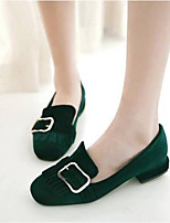 cheap -Women's Shoes PU(Polyurethane) Summer Comfort Flats Chunky Heel Round Toe Black / Red / Green