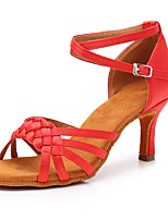 cheap -Women's Latin Shoes Satin Heel Slim High Heel Customizable Dance Shoes Red