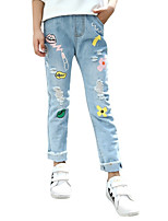 cheap -Kids Girls' Active Solid Colored / Print Cotton Jeans