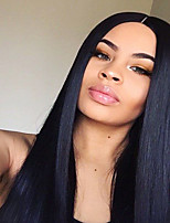 cheap -Remy Human Hair U Part Wig Brazilian Hair Silky Straight Wig Middle Part 130% For Black Women Natural Women's Mid Length Human Hair Lace Wig