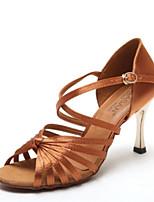 Недорогие -Жен. Обувь для латины Сатин На каблуках Толстая каблук Танцевальная обувь Черный / Кофейный