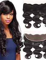 cheap -Yavida All Wavy 4x13 Closure Indian Hair / Body Wave Swiss Lace Human Hair Free Part With Baby Hair / Soft / Extention Birthday / Daily Wear / Vacation