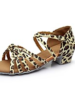 cheap -Women's Latin Shoes Patent Leather Sandal / Heel Splicing Thick Heel Customizable Dance Shoes Leopard