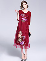 cheap -Mary Yan & Yu Women's Street chic / Chinoiserie A Line / Swing Dress Patchwork / Embroidered